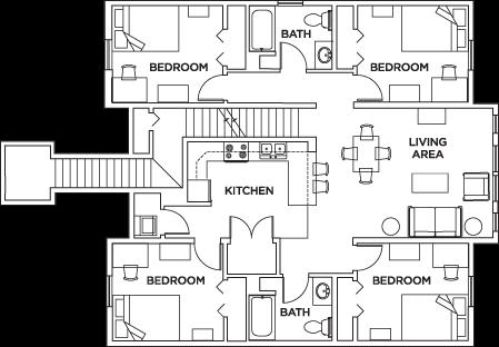 4 Bed   2 Bath Flat   Park Point Rochester   Student Housing   Rochester,