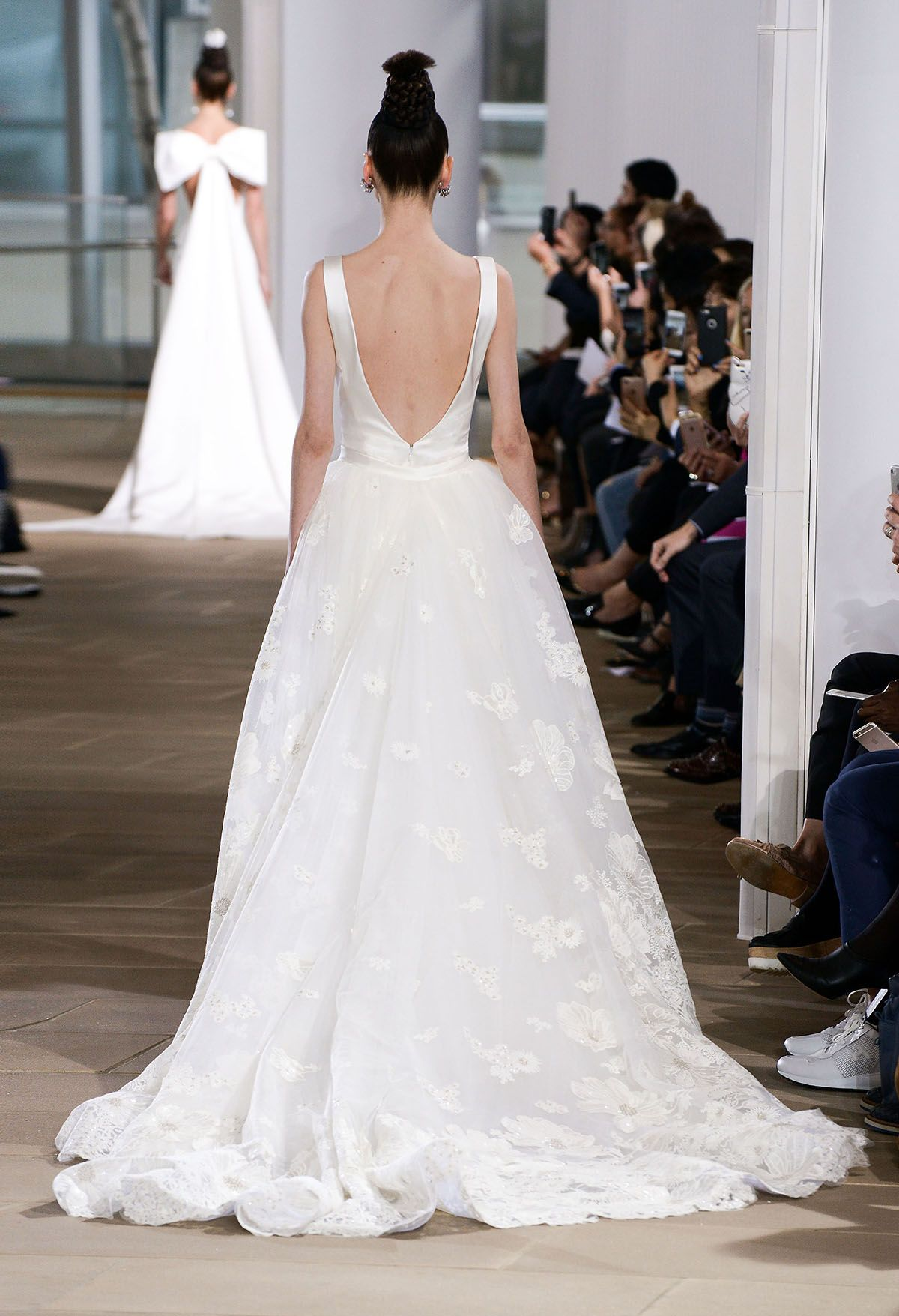 Sleeveless V-back Laura wedding gown with a dramatic embroidered ...