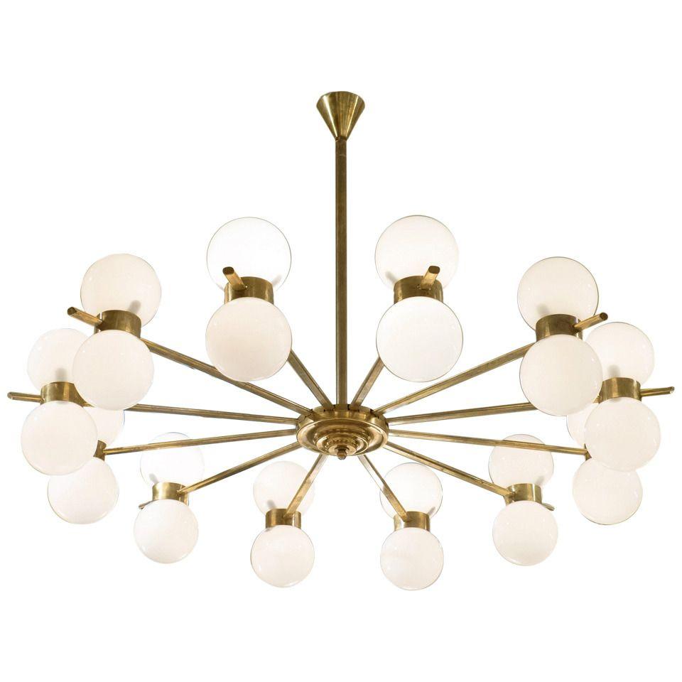 Vintage twelvearm chandelier in the style of stilnovo chandelier