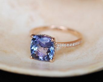 Tanzanite engagement Ring. Rose Gold Engagement Ring Indigo Blue Tanzanite cushion cut halo engagement ring 14k rose gold ring