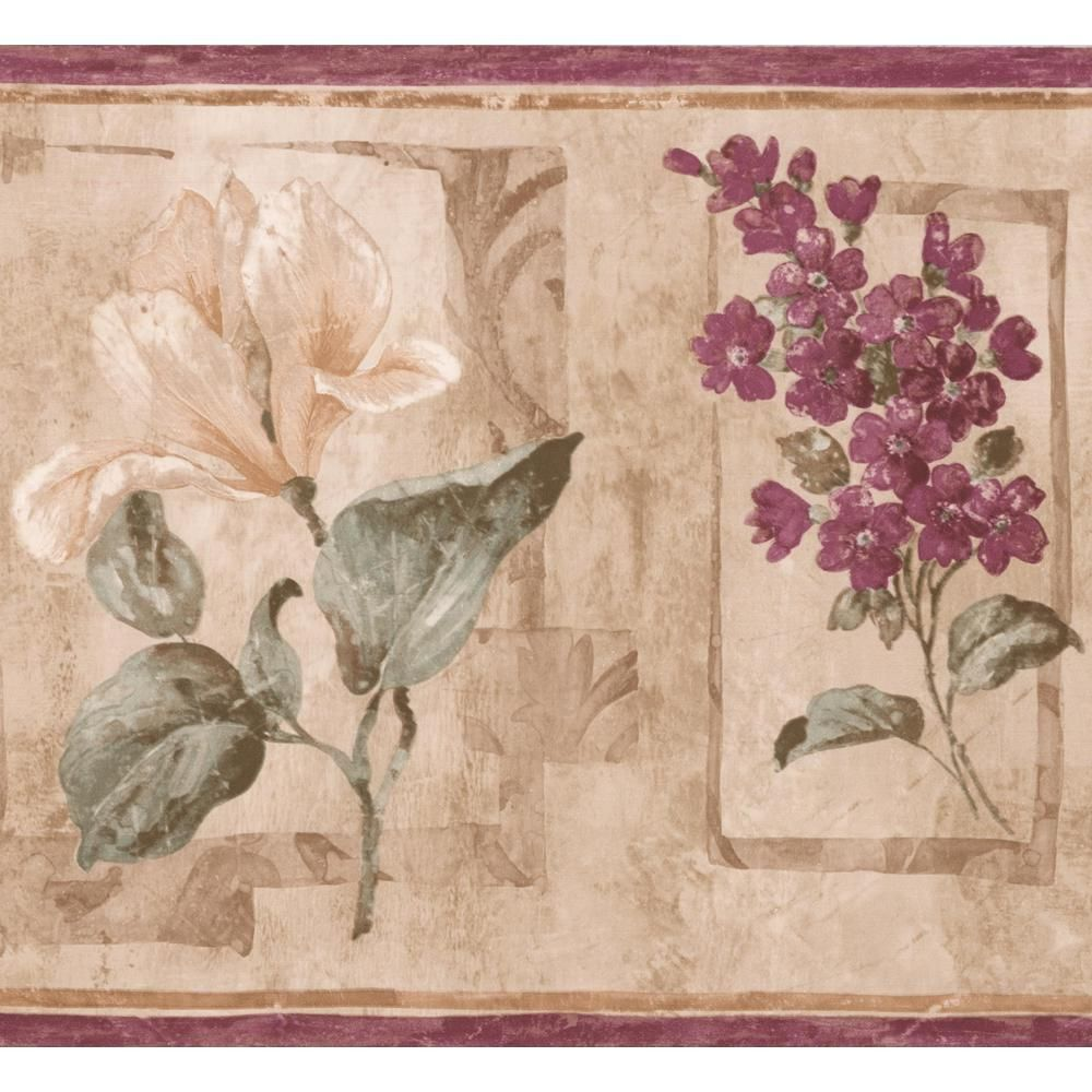 Retro Art Purple Beige Flowers Abstract Floral Prepasted