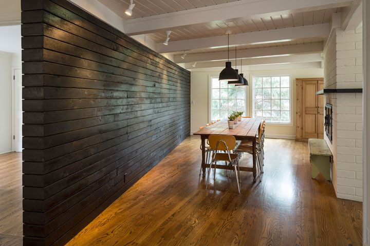 Let S Do It Using Charred Wood To Create A New Wall Sala Architects Charred Wood Wood Interior Walls Charred Wood Wall