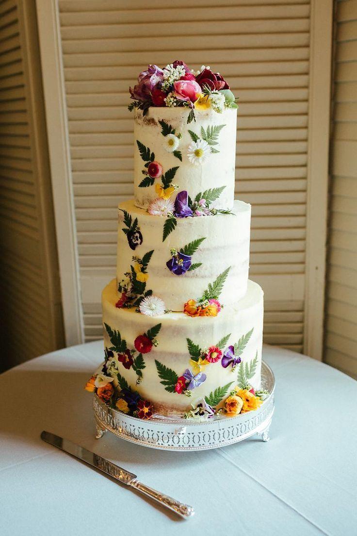 Buttercream Wedding Cake With Edible Flowers // Juliet Cap Veil For A Wildflower…