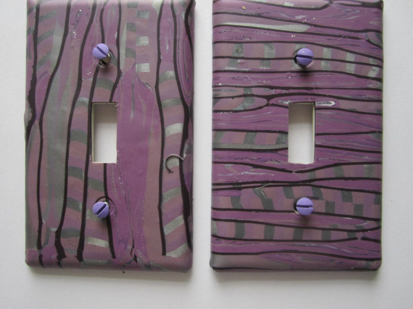 Light Switch Cover, Single Switch Plate, Toggle Switchplate, Plum And  Silver With Black