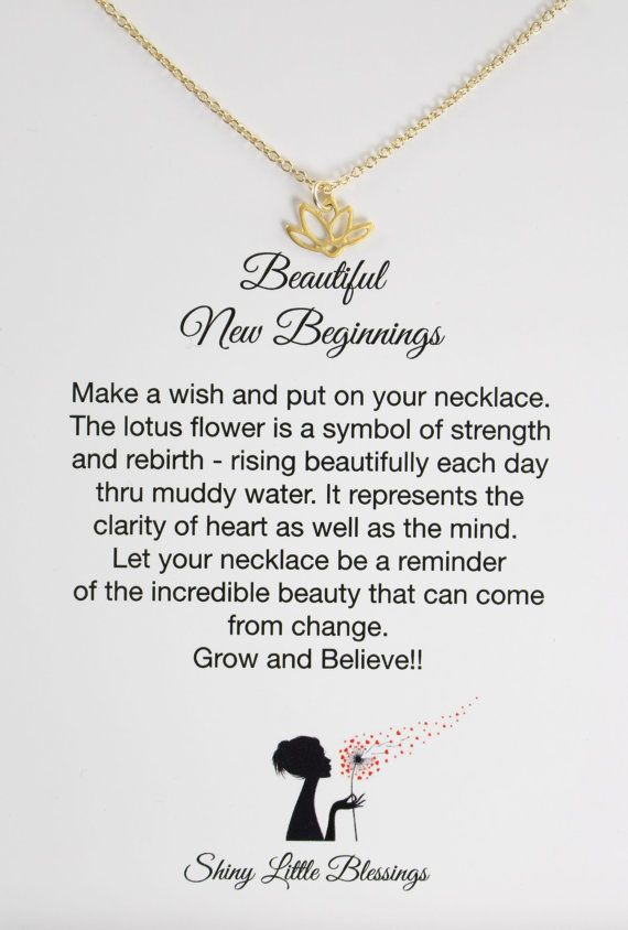 Make a Wish, Encouragement Gift, Lotus Necklace, Encouragement Jewelry by Shiny Little Blessings.