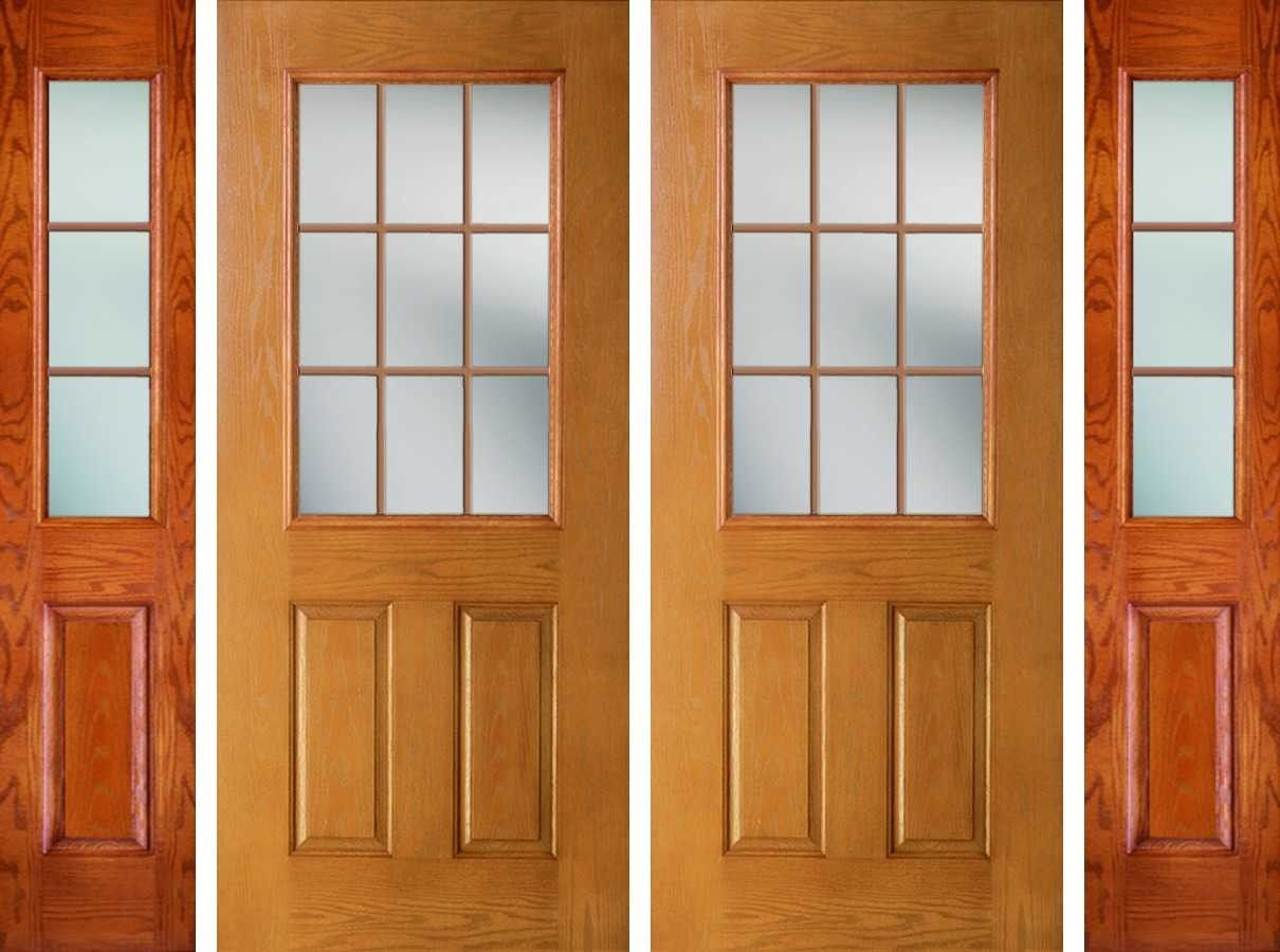 684 Gbg 9l 80 W 692 2 2 5 8 7 8 Caming Clear Clear Glass Texture Woodgrain Grain 9 Lite 1 2 Lite Low E Glass 2 Panel Traditi Double Doors Front Door Doors