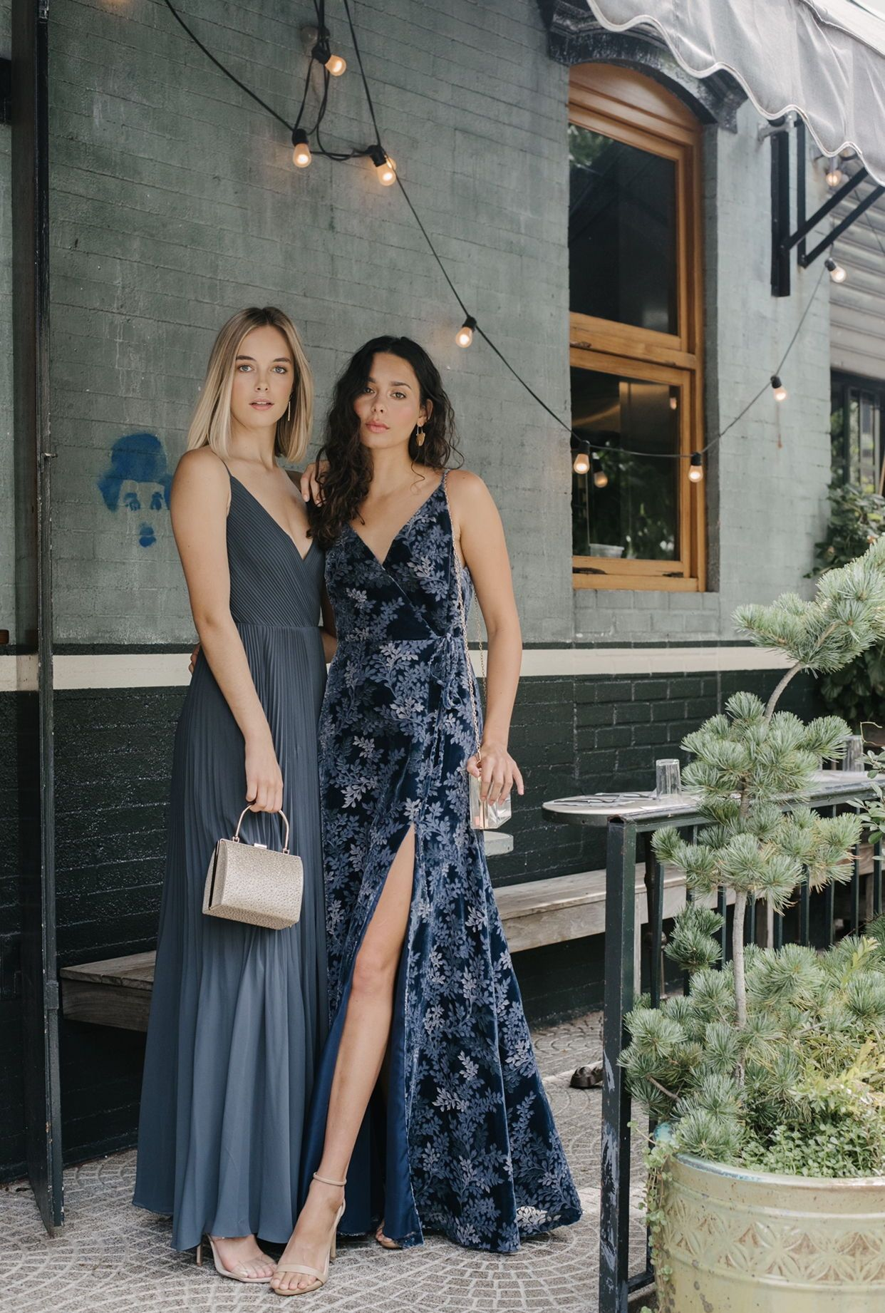 Burnt Out Velvet And Pleated Chiffon Blue Wedding Guest Dresses By Jenny Yoo Blue Wedding Guest Dresses Modern Bridesmaid Dresses Dreamy Gowns [ 1842 x 1242 Pixel ]