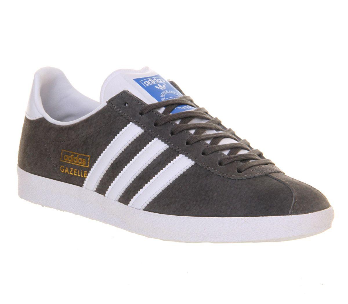 Mens Adidas Gazelle Og SHARP GREY WHITE Trainers Shoes