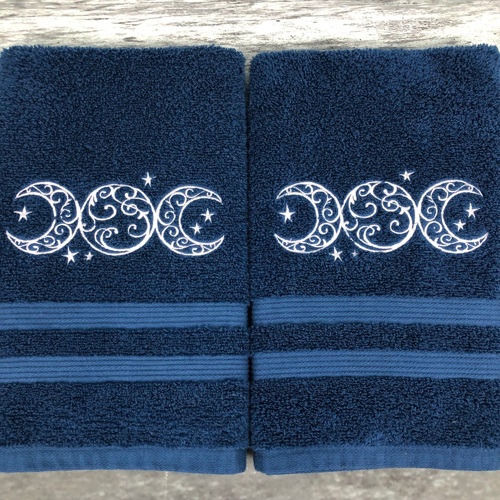 Triple moon hand towel set, Wiccan decor, witchy decor, embroidered towels, celestial decor, pagan, Mother's Day