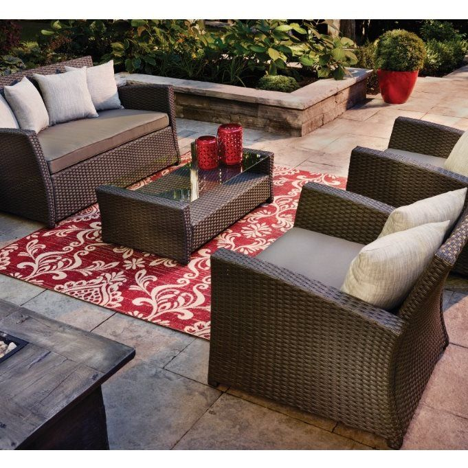 Garden Treasures Burkstead 4 Piece Patio Conversation Set | Loweu0027s Canada  $600