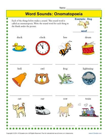 Word Sounds: Onomatopoeia | 2nd grade worksheets, Figurative ...