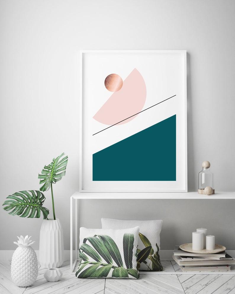 Large Geometric Art Print Giclee Print Poster Size Art Office Art Green Blush Print Abstract Art Mid Century Modern Art Print Avenue In 2020 Geometric Art Mid Century Modern Art Office Art