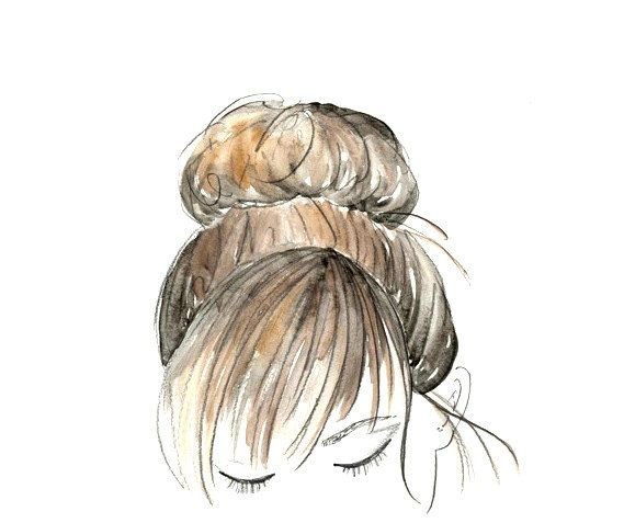 Watercolor Sketch Hair Beauty Bun Art 8 X 10 By Bambellaart