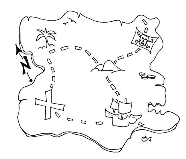 Awesome Treasure Map Of Pirate Treasure Coloring Page Pirate Treasure Maps Treasure Maps Treasure Maps For Kids