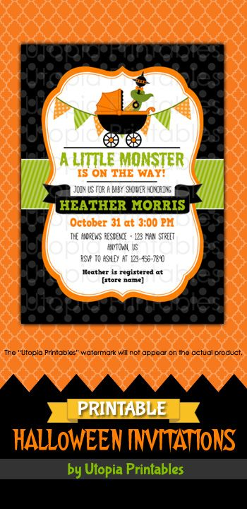 Printable a little monster is on the way halloween baby shower printable a little monster is on the way halloween baby shower invitation in black filmwisefo Image collections