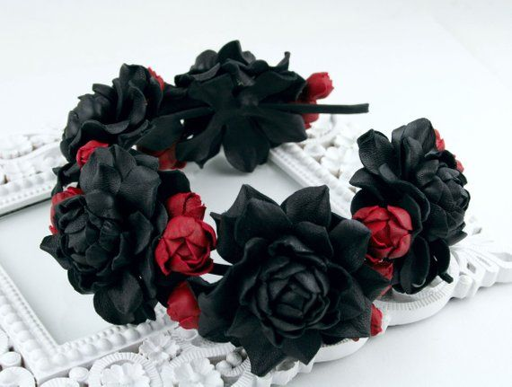 Black Red Leather Roses Flower Headband Real Leather Etsy Black And Red Halloween Accessories Hair Rose Flower Headband