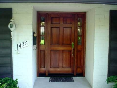 Exceptionnel Wood Entry Doors With Sidelights | Entry Prehung 6 Panel Textured  Fiberglass Door With 2 Sidelights