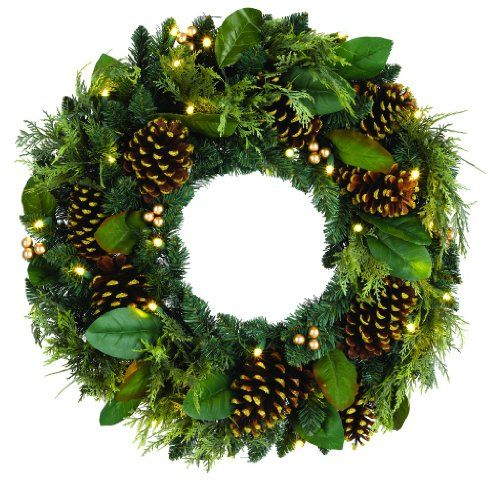 64 99 60 00 Gki Bethlehem Lighting 100026307 Gold Berry And Pinecone Wreath With 30 Battery