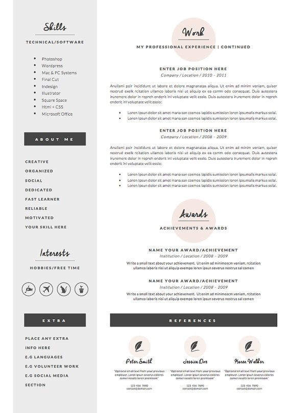 professional resume template for word 1  u0026 2 page by oddbitsstudio