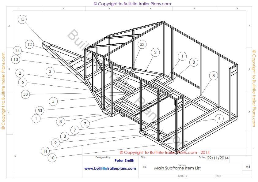 3 6 m enclosed motor bike subframe 1 007 pinterest for Free trailer plans