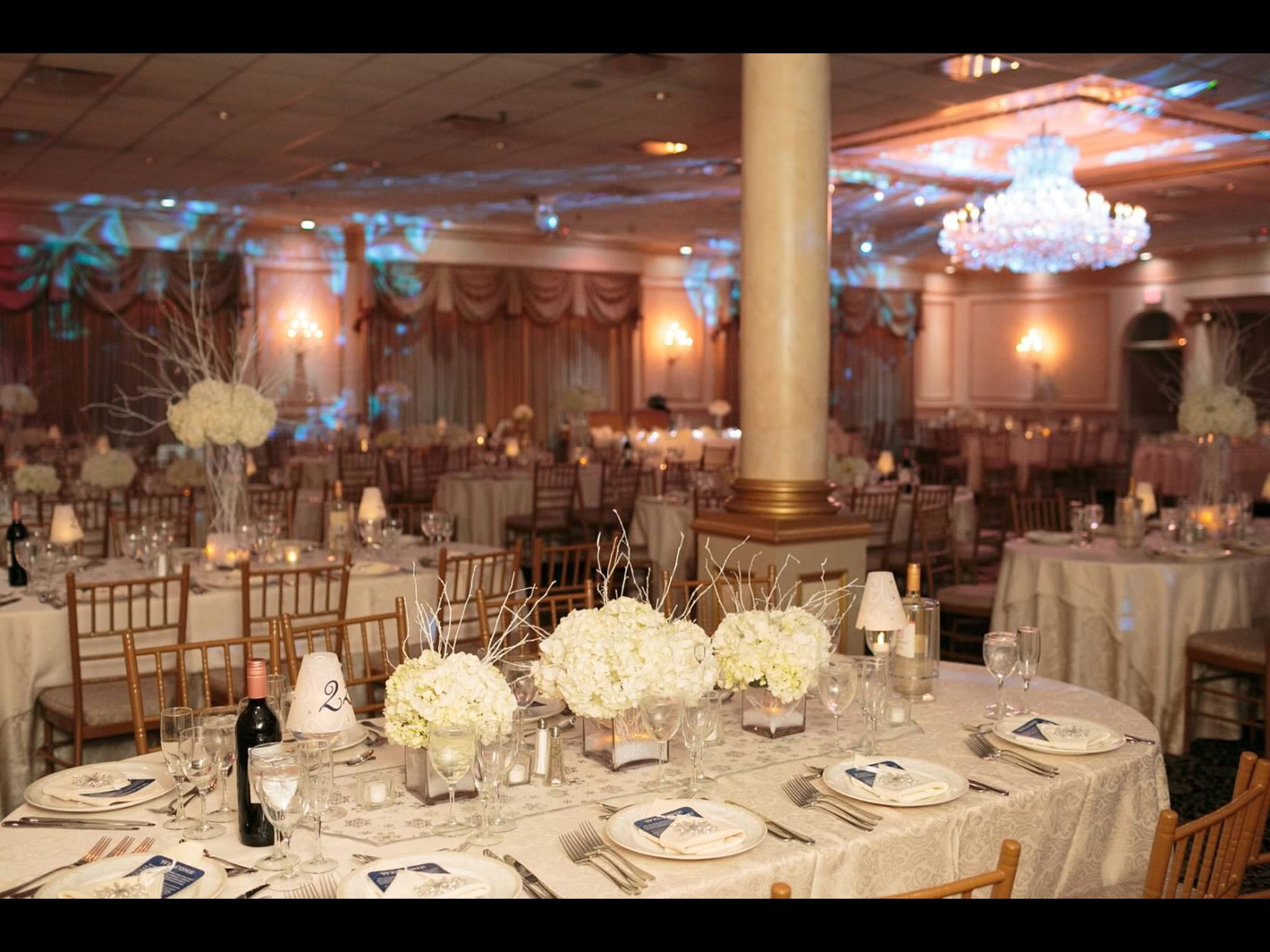Wedding dinner decoration ideas  Winter wedding dinner table flowers white hydrangeas  The Outcome