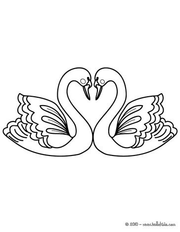 VALENTINE\'S DAY coloring pages - Love Swans | Simple sketches ...