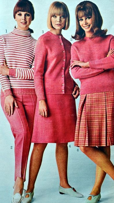 My favorite navy blue skirt with white sweater and tan skirt and matching sweater. Mom borrowed mine. Fall/winter fashions in Sears catalog, 1965.