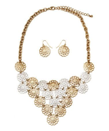 Love this Gold & Silver Floral Bib Necklace & Drop Earrings on #zulily! #zulilyfinds