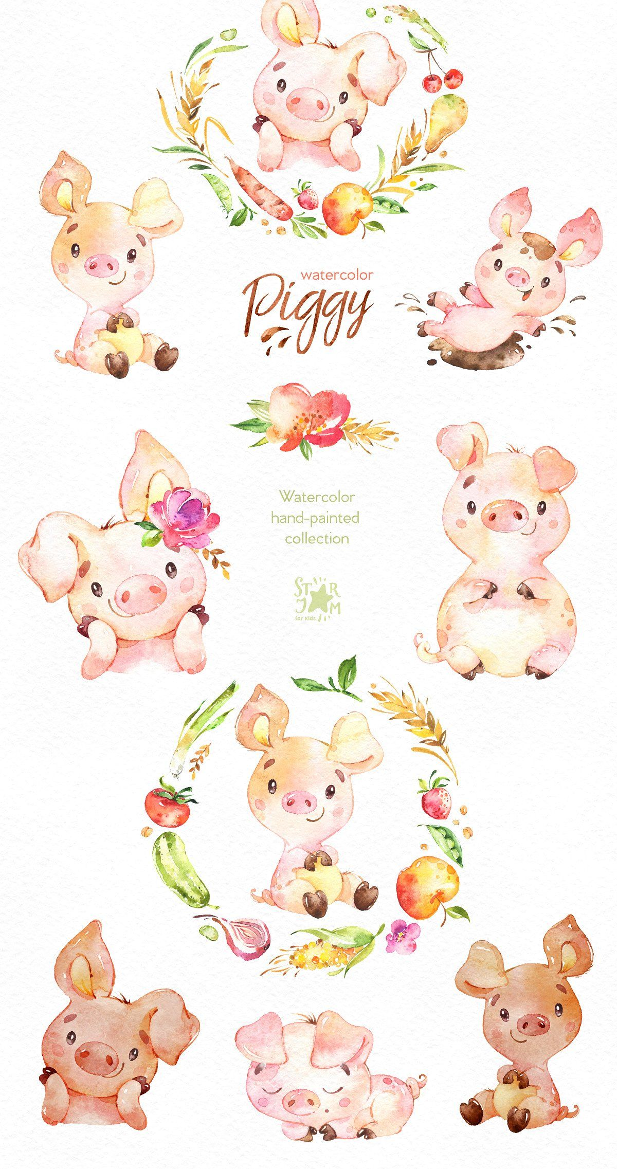 Watercolor Piggy Collection by StarJam on @creativemarket