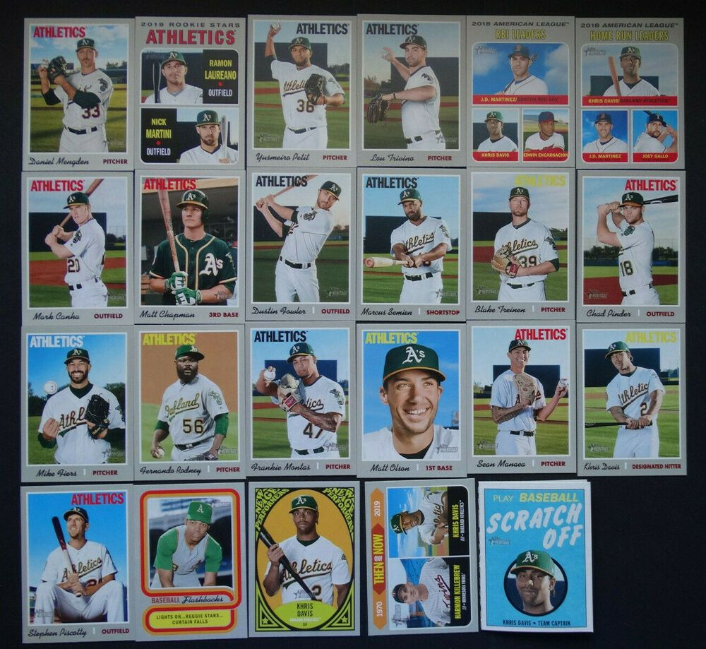 2019 Topps Heritage Oakland Athletics A's Master Team Set of 23