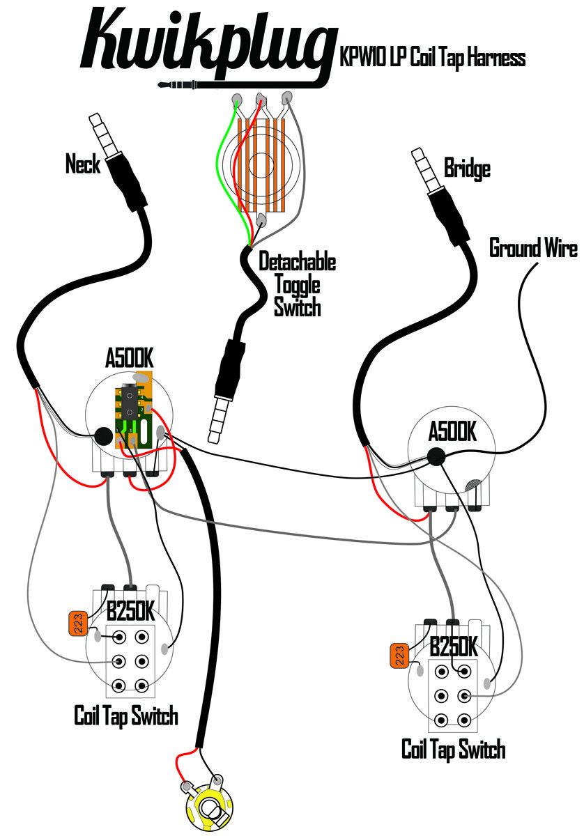 Kwikplug LP DUAL COIL TAP HUMBUCKER Wiring Harness- PRE