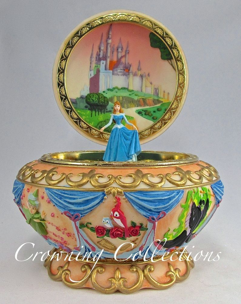 Disney Sleeping Beauty Music Box Princess Aurora Jewelry Box Round