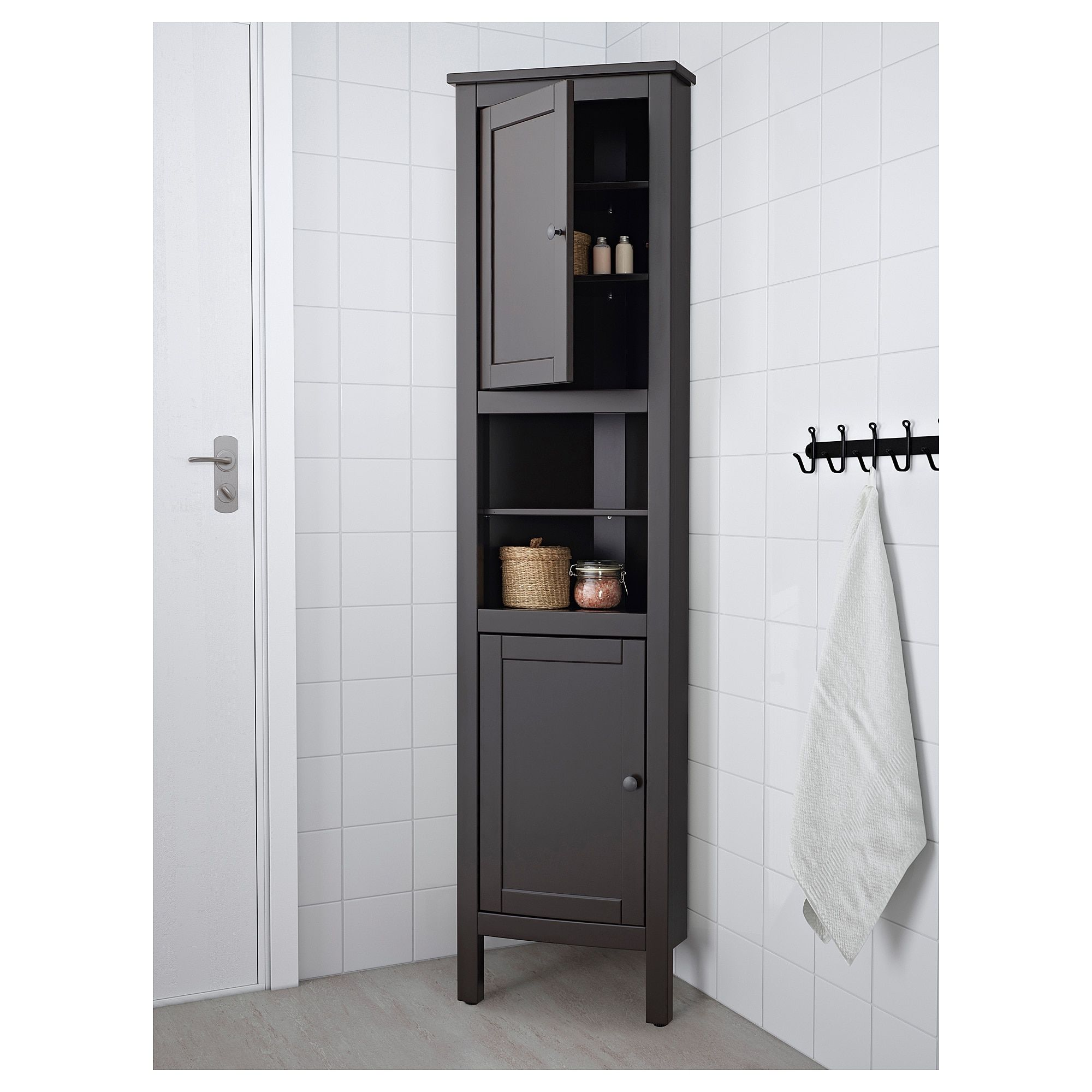 Ikea Hemnes Black Brown Corner Cabinet Bathroom Corner Cabinet Ikea Corner Cabinet Corner Storage