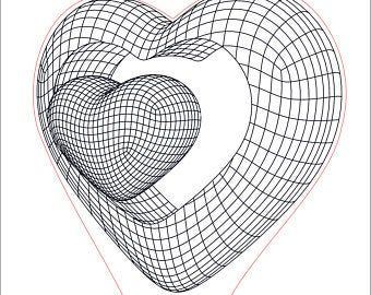 Heart with Ring 3D Illusion acrylic LED lamp. Vect