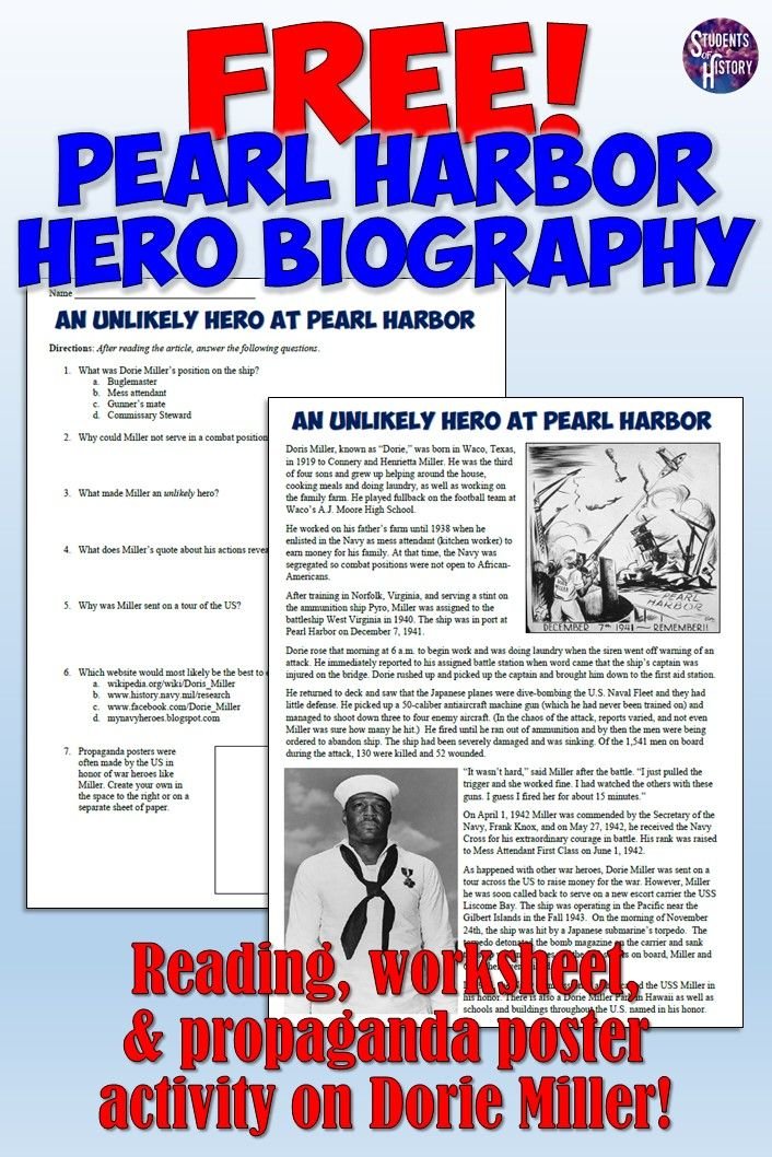 Pearl Harbor Dorie Miller Reading And Worksheet World