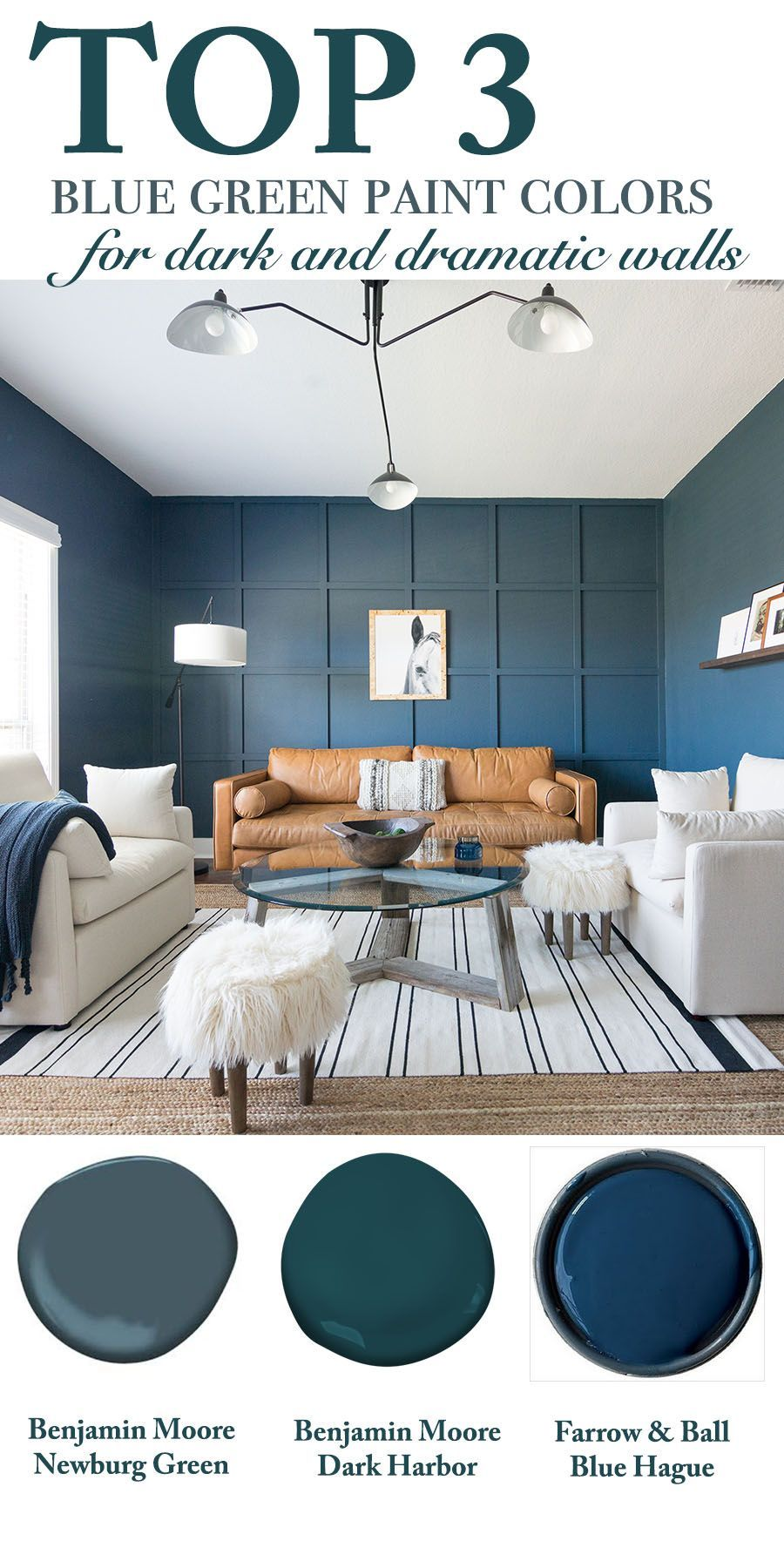 Top 3 Blue Green Paint Colors For Dark And Dramatic Walls Blue Green Bedrooms Dark Living Rooms Living Room Colors