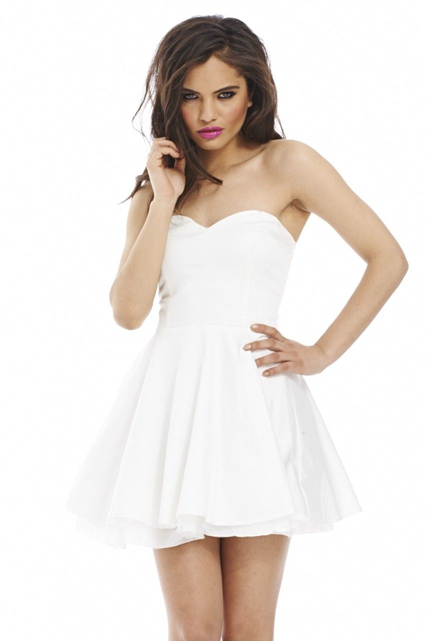 5152a37bf5 Cream Strapless Flared Skater Dress. Boobtube Kick Out Net Cream Dress.  Step out in