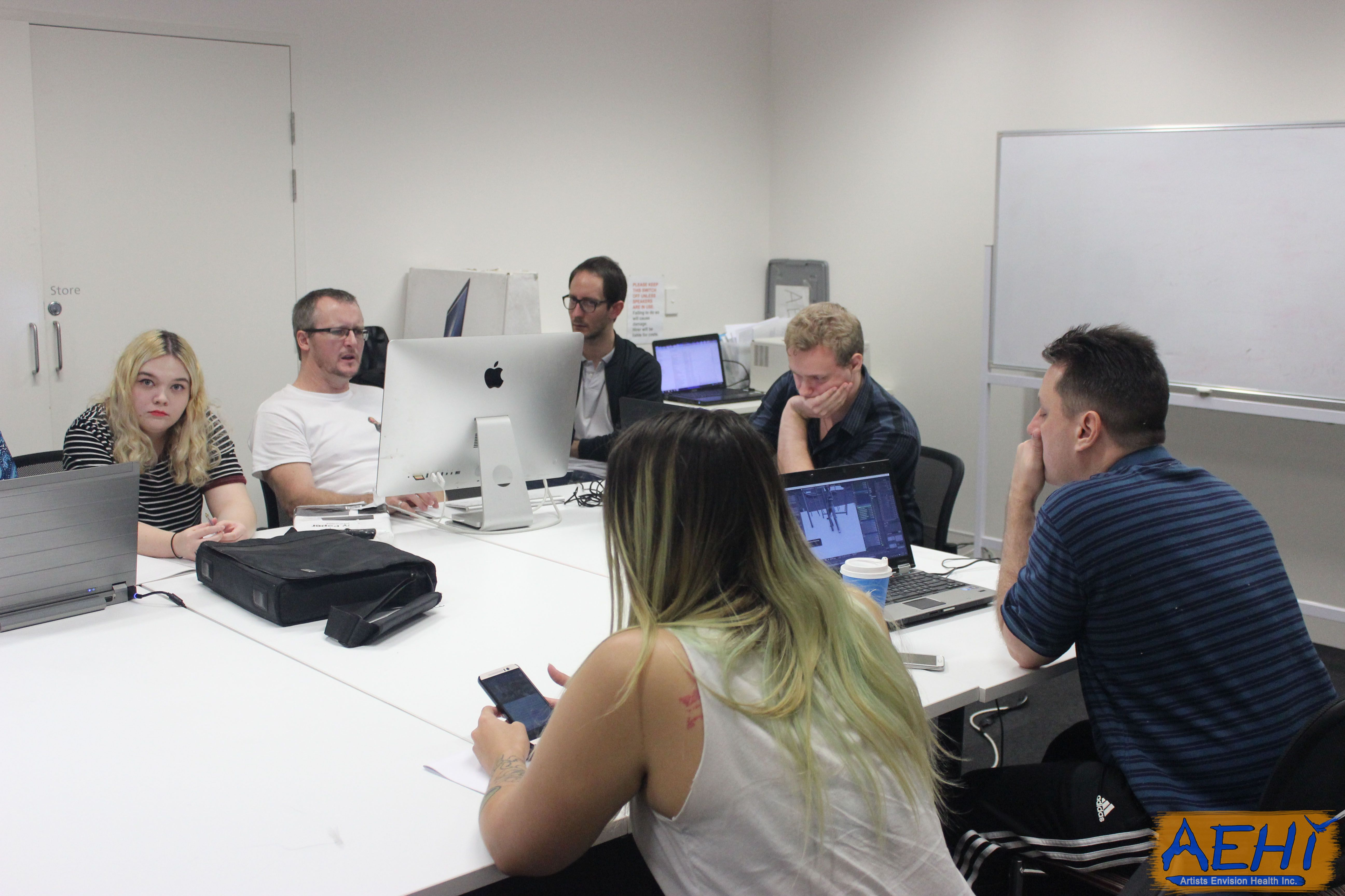 Some of our cast and crew brainstorming and working on a couple of projects for our show Banana Flavoured Milk. #bananaflavouredmilk #aehiqld #comedy #bfm #tinyRick