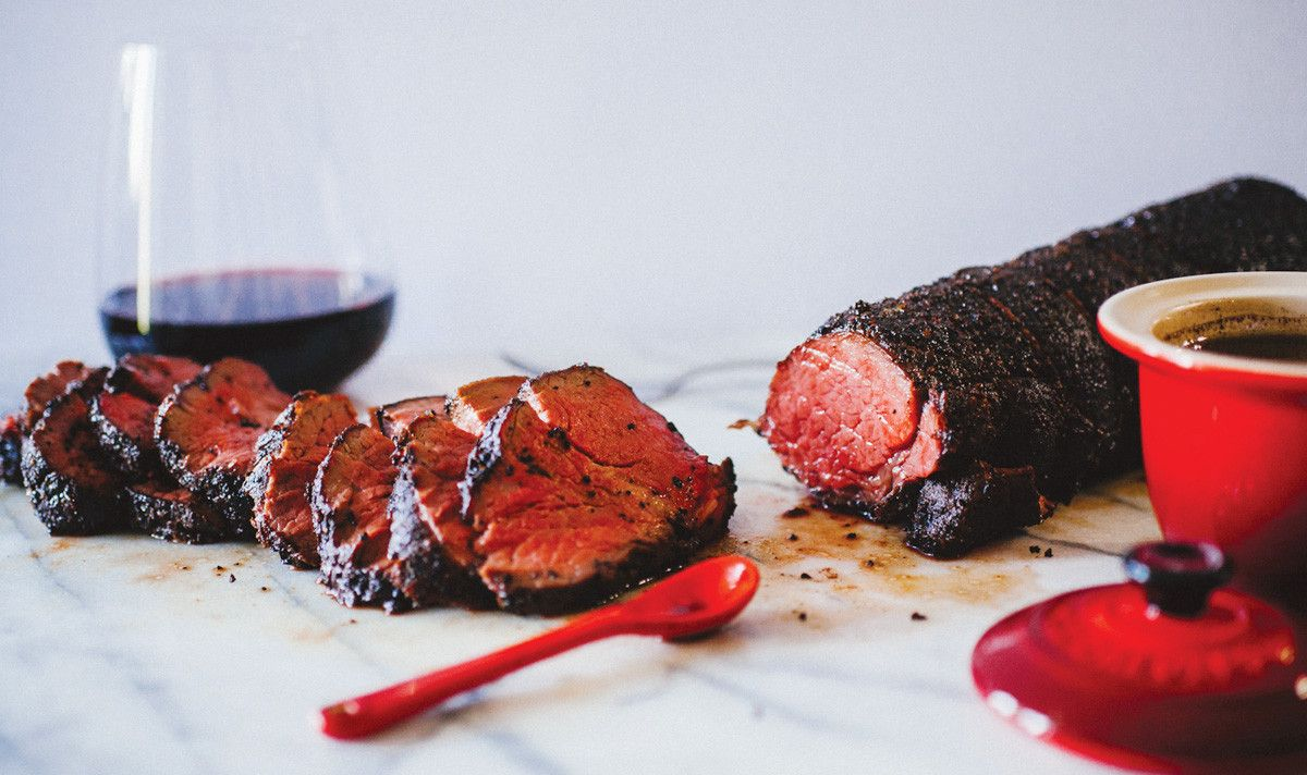 Coffee Crusted Beef Tenderloin With Red Wine Jus Le Creuset Beef Tenderloin Real Food Recipes Recipes