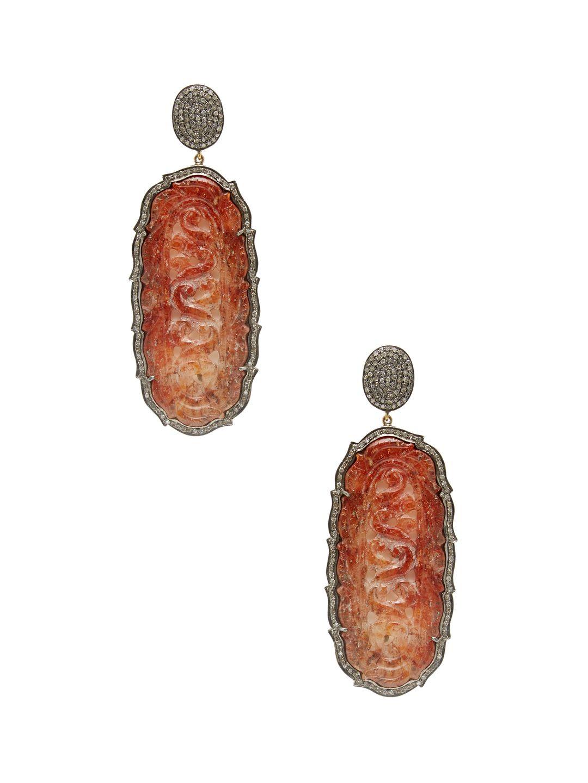 Brown Agate & Diamond Oblong Drop Earrings