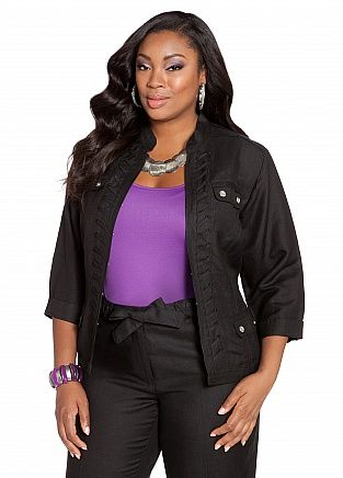 Ashley Stewart: Whipstitch Linen Jacket