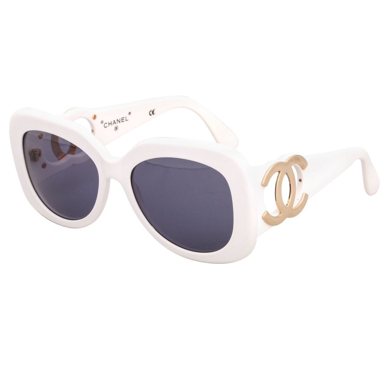 85ac2e32de7 Chanel White Sunglasses with Gold CC