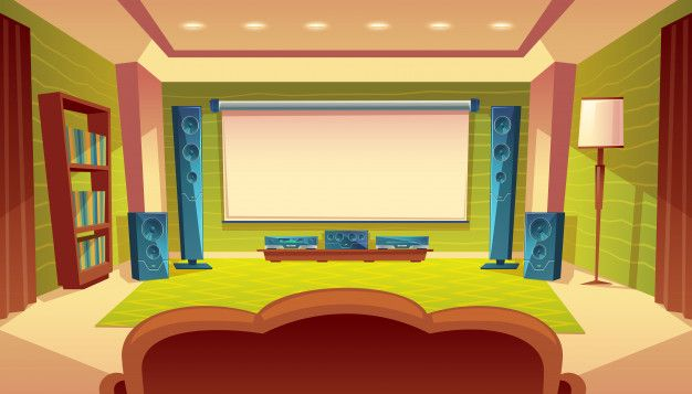 Download Cartoon Home Theater With Projector Audio Video System Inside The Hall For Free Fondo Animacion Fondos De Escenarios Fondos Para Videos