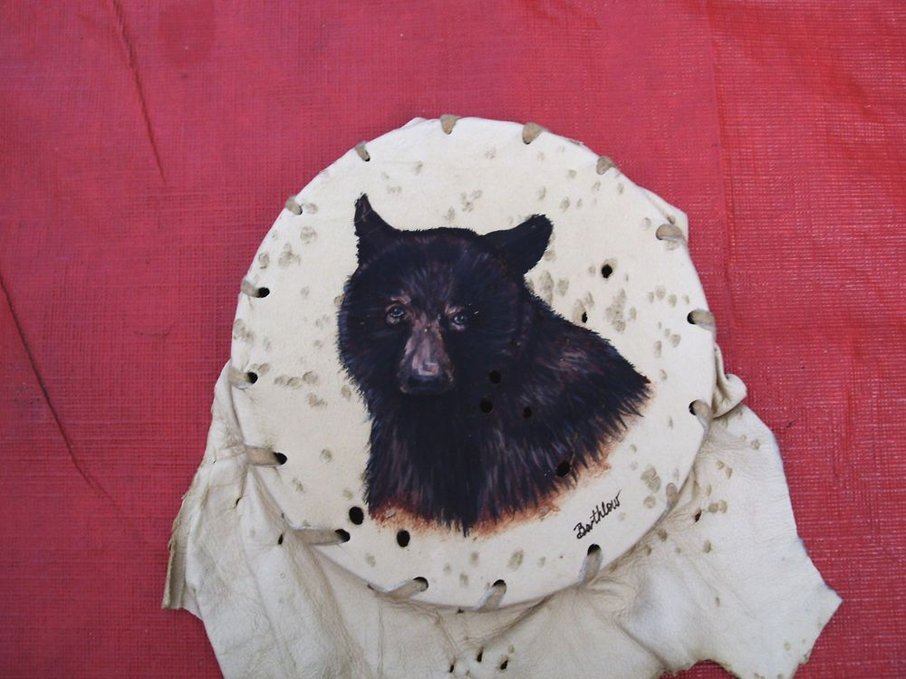 bear hand painted on deerskin by bartholow