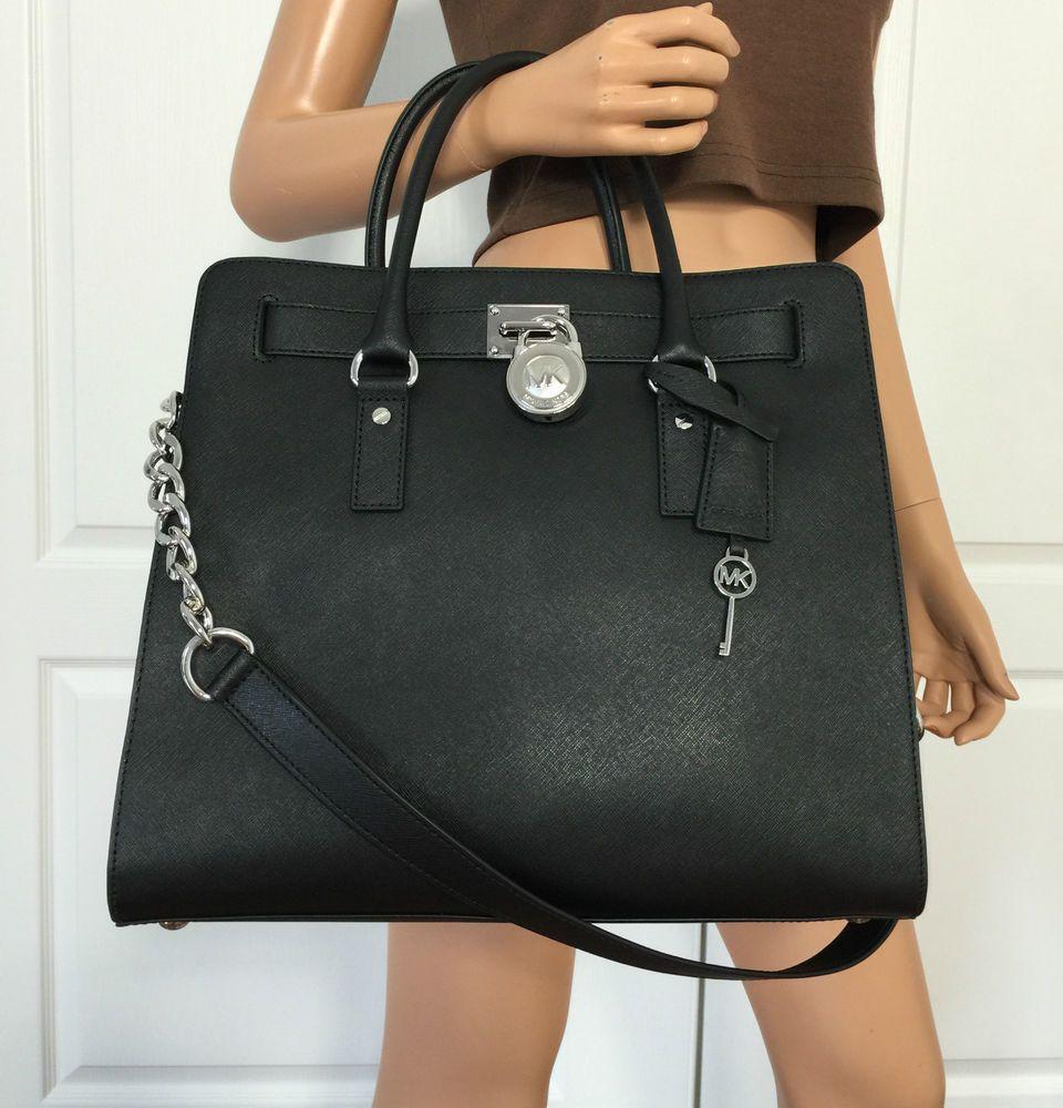 6dcb02909b5c Michael Kors Hamilton Large Saffiano Leather Tote Shoulder Black Bag Purse   MichaelKors  ShoulderBag