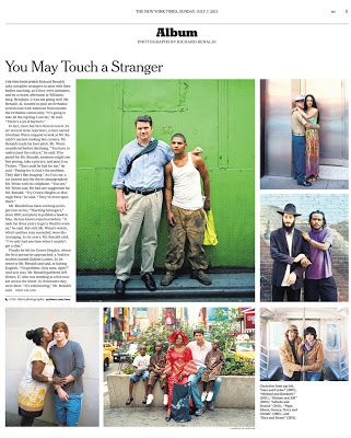 Richard Renaldi's Photography Blog: Touching Strangers in the Sunday NY Times