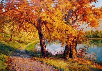 Осень в городском парке   Paisajes, Pinturas, Arte