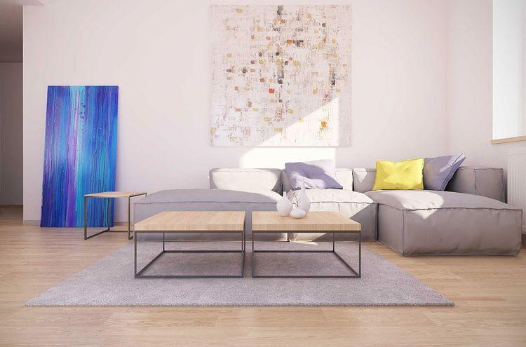 Bilder für Wohnzimmer - Modernes Kunstbild in frischen Farben über