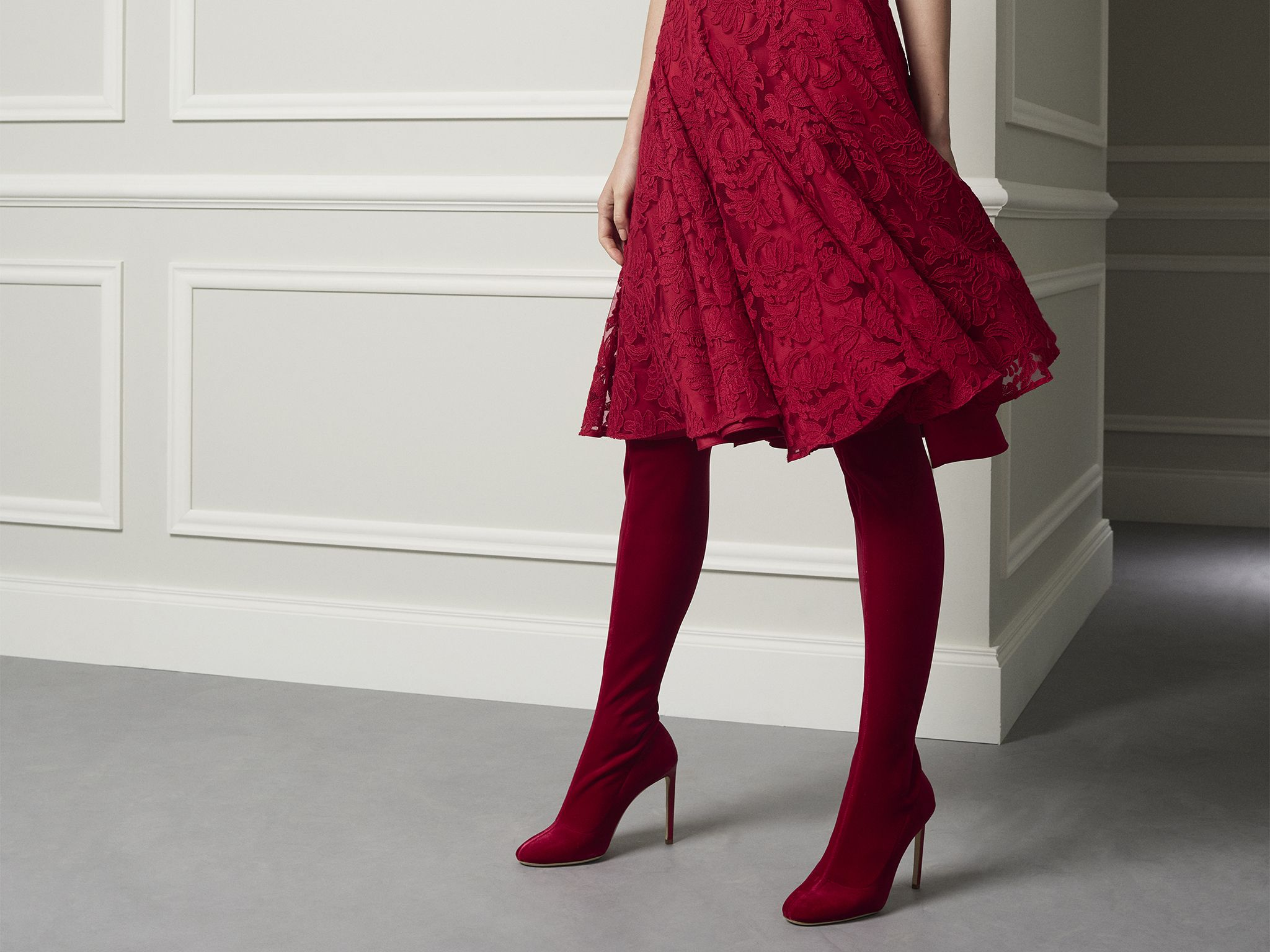 a7be1a9a9e78a CH Carolina Herrera Fall17 Red Stretch Velvet OTK Boots | One | Red ...