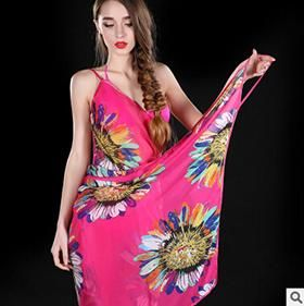 fbf5a1b145eab Deep V Wrap Chiffon Swimwear Bikini Cover Up Strap Flower Sarong Beach  Dress shawl scarf Free shipping